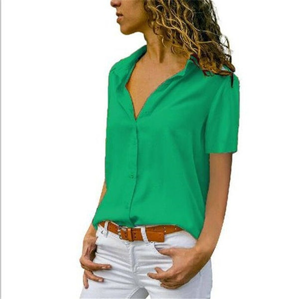 S-5XL New Summer Womens Fashion Plus Size Tops Short Sleeve V-neck Blouse &Shirts