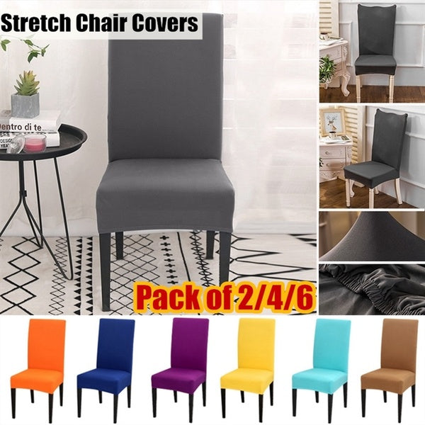 Pack of 2/4/6 Home Stretch Dining Chair Covers Slipcovers Removable Chair Protective Covers for Wedding Restaurant Hotel