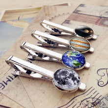 Load image into Gallery viewer, Solar System Sun Earth Moon Mars Jupiter Planet Silver Metal Tie Clips Men Fashion Simple Necktie Tie Pin Bar Clasp Clip
