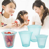NEW Multifunction Reusable Vacuum Food Grade Silicone Sealed Food Storage Bags Washable Food Preservation Bag Zipper Top Leakproof Container Standing
