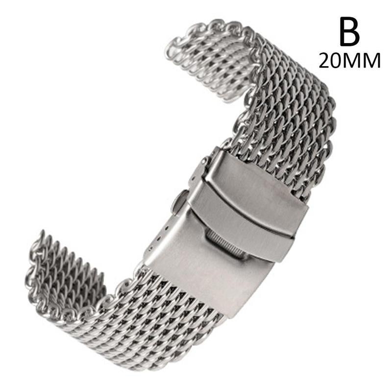Double Button Stainless Steel Solid Shark Watch Strap High-end Milan Mesh Weaving 18 20 22 24mm