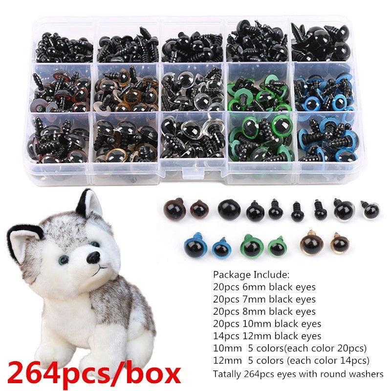 264 pcs/box Multicolor Doll Eyes DIY Mixed Craft Plastic Colorful Safety Eyes Washers for Teddy Bear Dolls Toy Making Doll