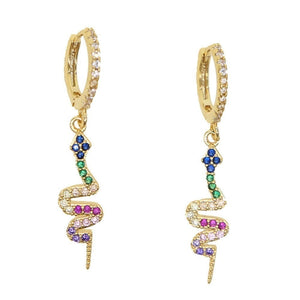 Women Fashion Mini Hoops Rainbow Snake 18K Gold Earrings Pave Multi Color Gemstone Pendant Dangle Earrings