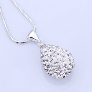 New 925 Sterling Silver SWRSK Crystal Water-Drop Necklace Pendant
