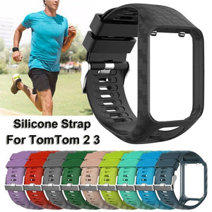 Silicone Replacement Watch Band Strap for TomTom Runner 2 3 Spark 3 Adventurer GPS