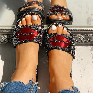 Summer Red Lips Rhinestones Slippers Outdoor Flat Non-slip Flip Flops