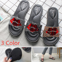 Load image into Gallery viewer, Summer Red Lips Rhinestones Slippers Outdoor Flat Non-slip Flip Flops