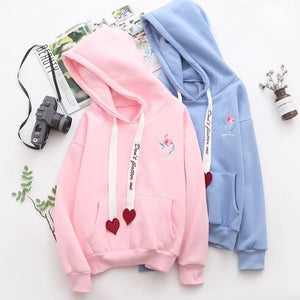 Autumn and winter ladies thickening plus velvet printed hooded sweater sweet loose casual hooded sweatshirts