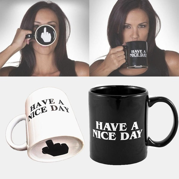 New Creative Ceramic Have a Nice Day Coffee Mug Milk Cup Funny Cup 10oz Novelty Gifts