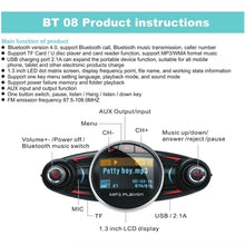 Load image into Gallery viewer, BT06/BT08 Bluetooth 4.0 LCD Displayer Car MP3 Player Wireless Handsfree Calling Car Charger Adapter FM Receiver Transmitter Car Radio Stereo USB Car Charger Car Kit