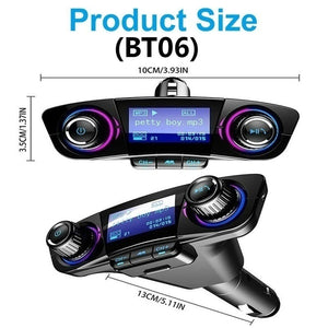 BT06/BT08 Bluetooth 4.0 LCD Displayer Car MP3 Player Wireless Handsfree Calling Car Charger Adapter FM Receiver Transmitter Car Radio Stereo USB Car Charger Car Kit