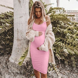 2019 New Maternity Pregnancy Fashion Mom Loose Soild Color Cotton Vest Dress O-Neck Long Dresses Plus Size