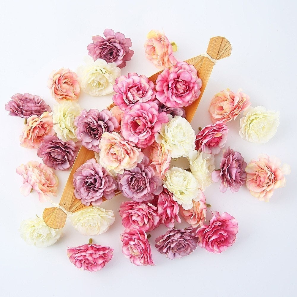 10Pcs/lot 5cm Artificial Silk Rose Flower Heads DIY Craft Wreath Gift Scrapbooking for Wedding Home Decoration Fake Flowers
