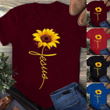 Load image into Gallery viewer, 2019 Summer Women Fashion Short Sleeve Pure Color T-shirt O-neck Print sunflower slim fit Tee Vintage Funny Casual Brief Streetwear Tops