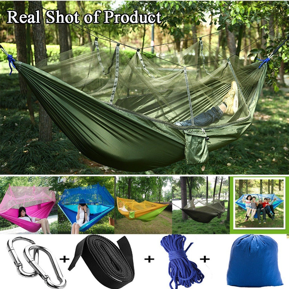 Camping Hommock Kit With Mosquito Net + Rain Fly Tarp Cover Kit,Portable 2 Person Hammocks for Outdoor Camping Hiking