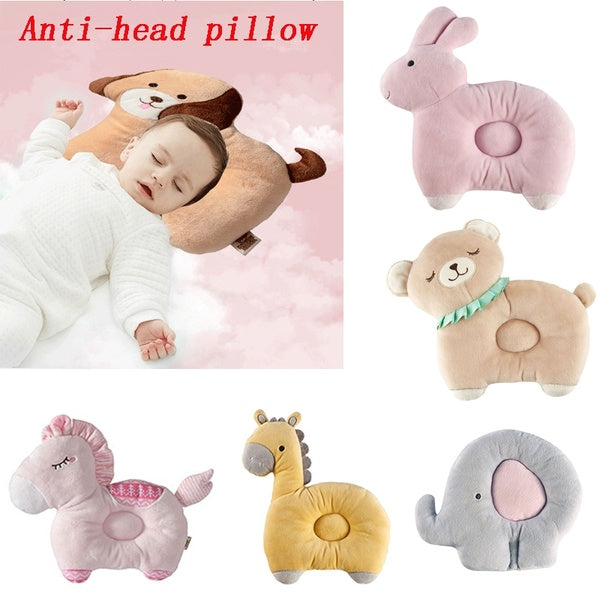 1pcs Baby Anti-head Pillow Cartoon Animal Shape Cotton Breathable Baby Pillow Baby Sleep Positioner  Anti Roll Pillow