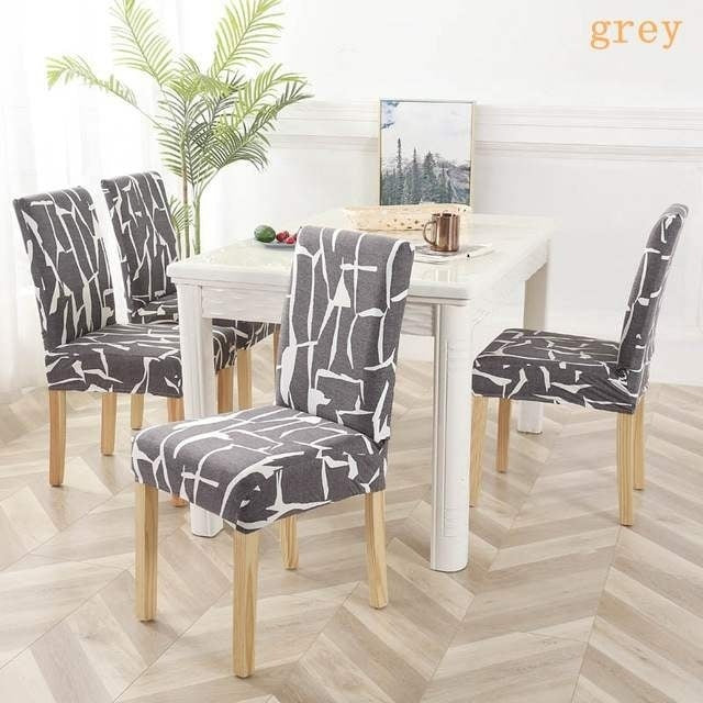 FORCHEER Spandex  Printed Chair Covers Elastic Stretch Decoration Chair Dining Seat Cushion Anti-dirty Washable living room chair cover 4/6/8 Pcs