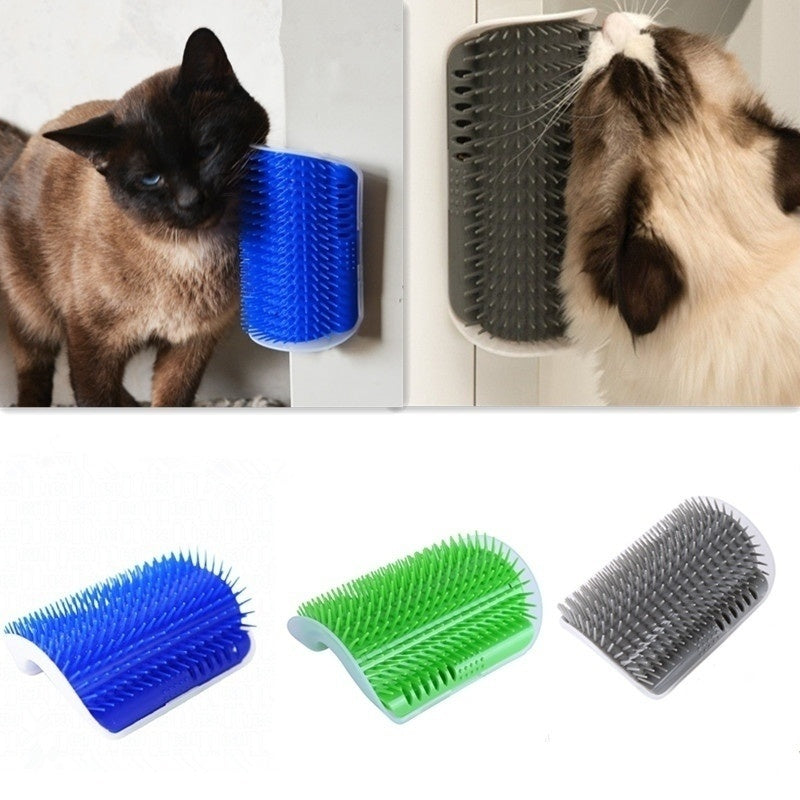 Removable Cat Corner Scratching Rubbing Brush Pet Hair Removal Massage Comb