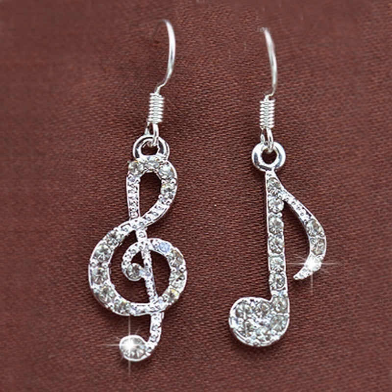 New Treble Music Note Melody Crystal Rhinestone Pendant Hook Dangle Earring Women Lady Party Dress Alloy Drop Earring Hook