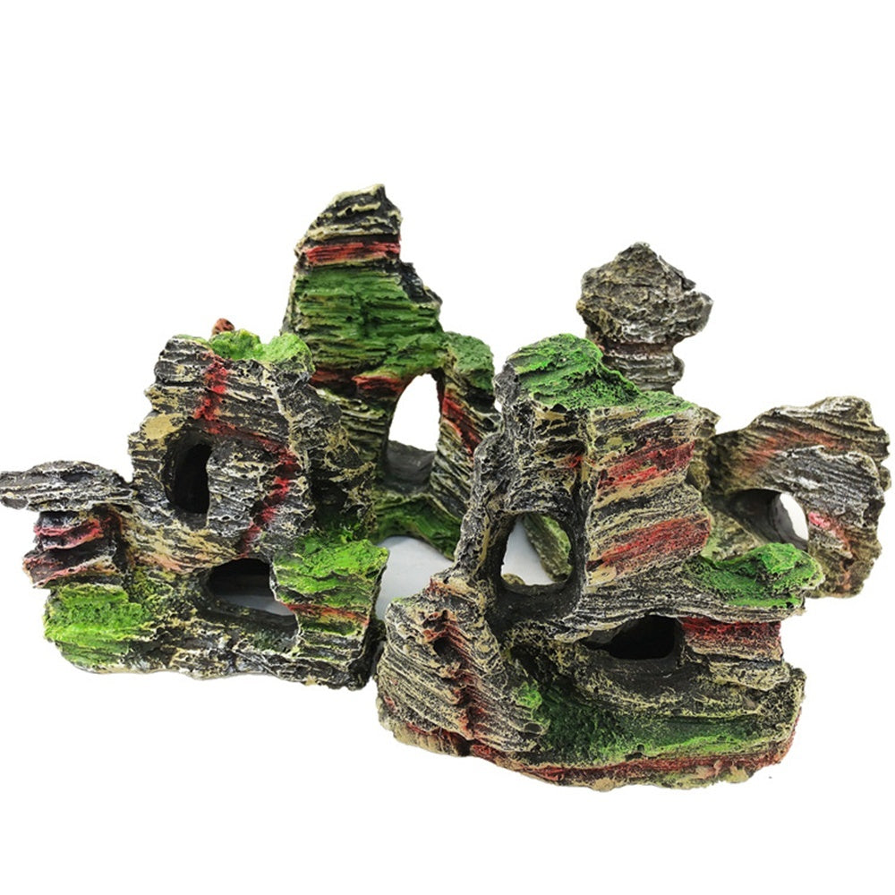 NEW Mountain View Aquarium Rockery Hiding Cave Tree Fish Tank Ornament Decoration