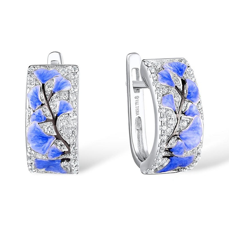 Newest fashion women's rings earring set exquisite 925 silver drip oil blue plum blossom rings earring bride engagement wedding diamond gemstone ring anniversary jewelry gifts