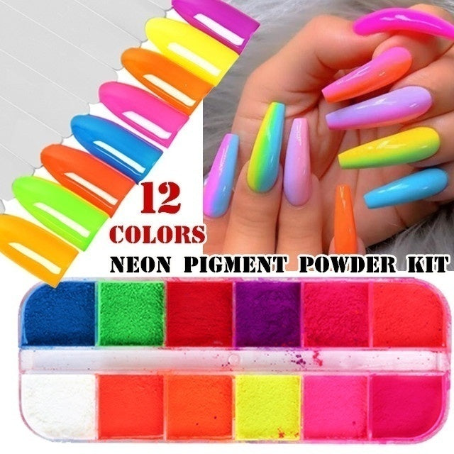 12 Colors Box Nail Glitter Powder Fluorescent Neon Phosphor Effect Powder Dust Nail Art Pigment Dust Decoration Summer