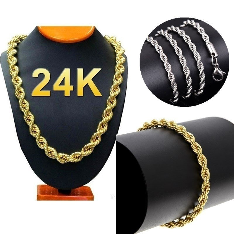 24k Gold Long Chain Necklace Men Jewelry Brand Gothic Gold/Silver Necklace Gifts(Size:18-30inch 5mm)