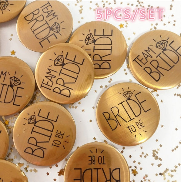 5pcs Gold Team Bride Badge Bachelorette Party Bride To Be badge for Wedding Decorations hen party  Party Logo