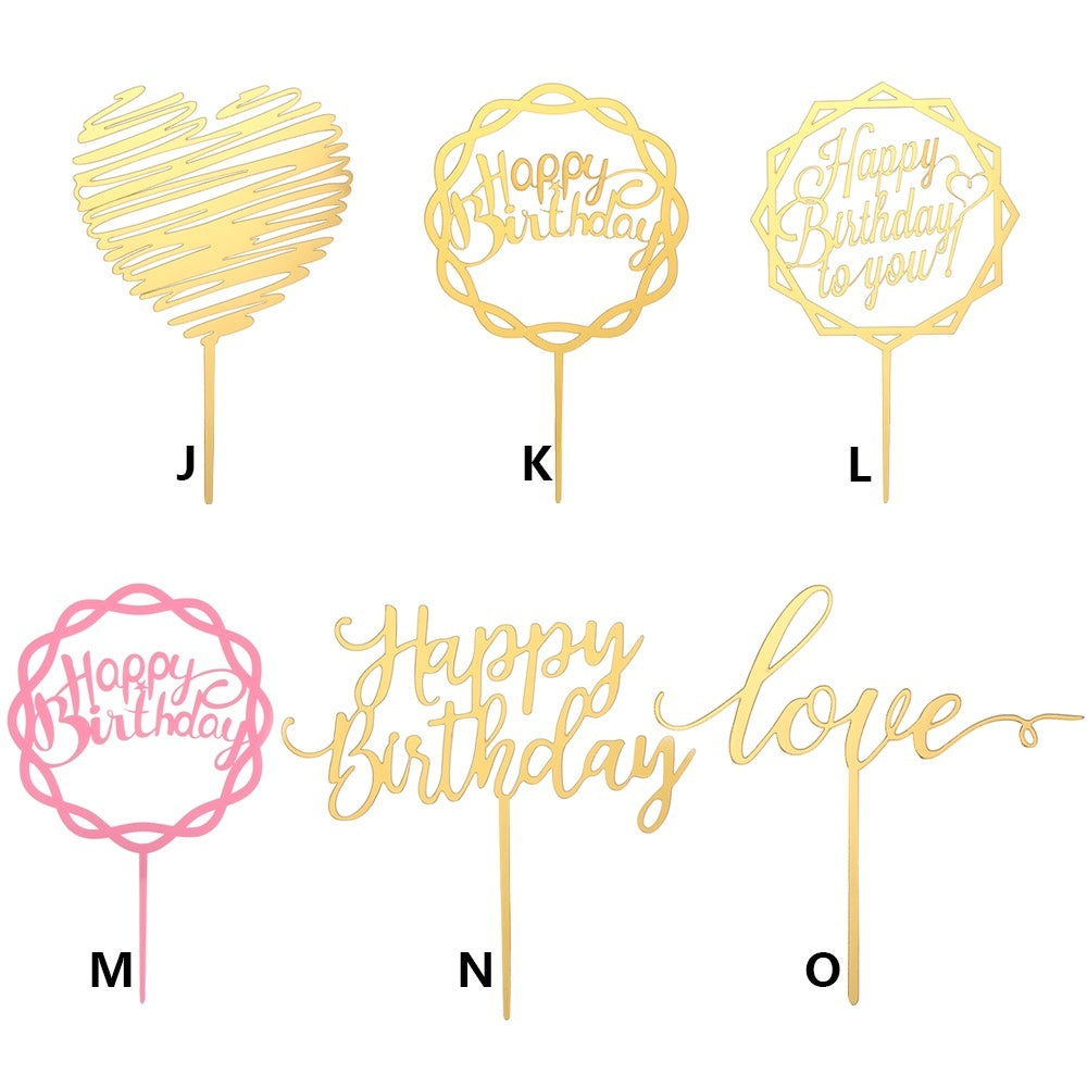 Gold Happy Birthday Cake Topper Acrylic Letter Wedding Cake Topper Cake Top Flag Decoration for Children Birthday Party Wedding Supplies