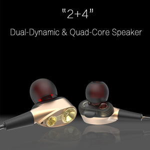 Dual-Dynamic Quad-core 3.5mm Noise Isolation Sport In-ear Earphone with Microphone and Subwoofer Earphone for Universal Mobile Phone