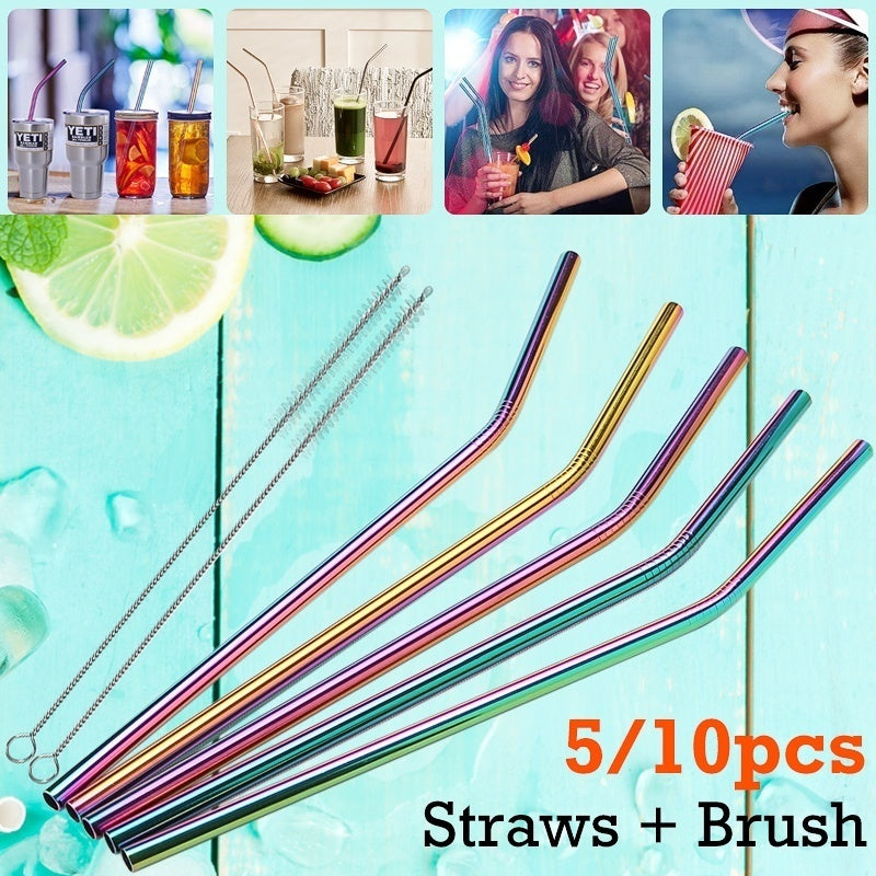 Multicolor stainless steel metal straw drinking straw + party bar cleaning brush (bending / straight)