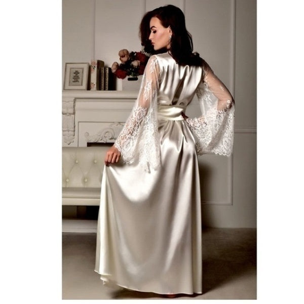 The latest five colors sexy lingerie satin lace family dress tuxedo women's kimono xs-xl nightgown