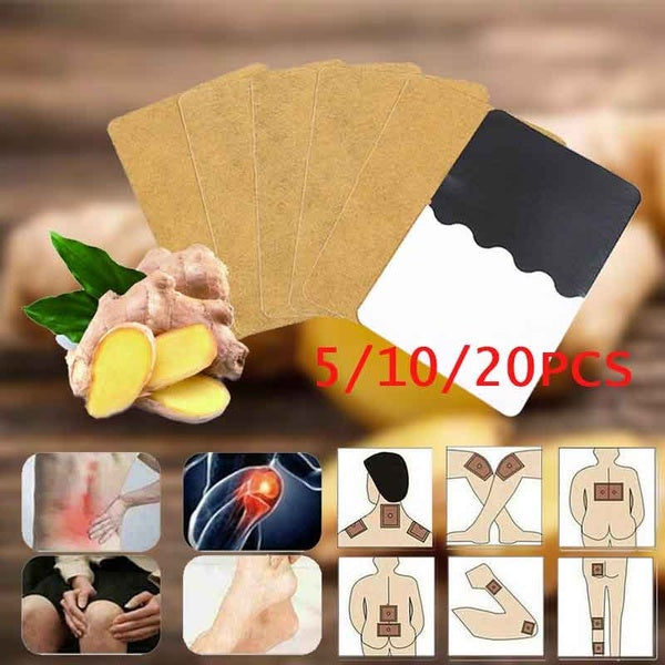 20pcs Ginger Detox Patch Body Neck Knee Pad Herbal Pain Relief Warmer Pad