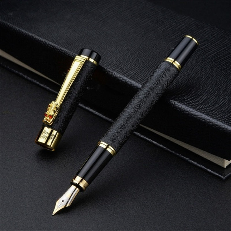 Dragon Clip Crystal Fountain Pen Business Executive Writing Metal Ink Pen Send Gift Pen