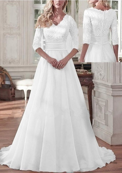 2019 hot 2019 Fashion Women's Deep V-neck Chiffon A-line 3/4 Sleeve Lace Temperament Wedding Dress Max