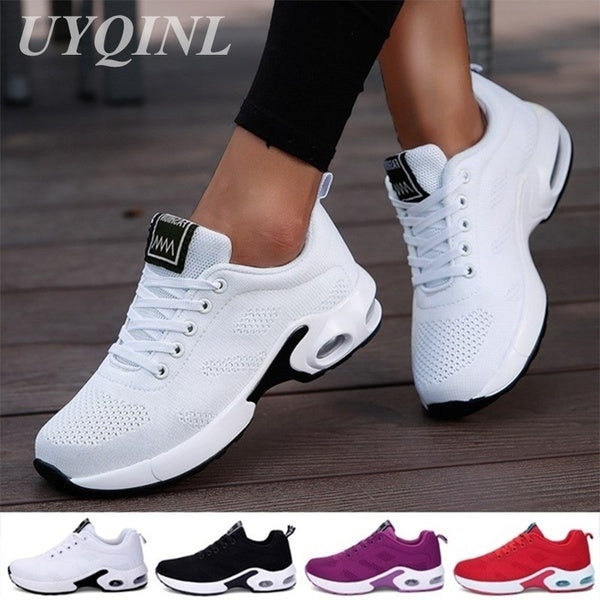 UYQINL Size 34-42 Women Air Cushion Running Shoes Sports Tennis Shoes Breathable Lightweight Sneakers Comfortable Mesh Flying Woven Shoes