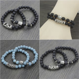 2Pcs/Set Natural Stone Lava Turquoise Beads Bracelet Set For Men Women Buddha Bracelet Yoga Chakra Energy Jewelry