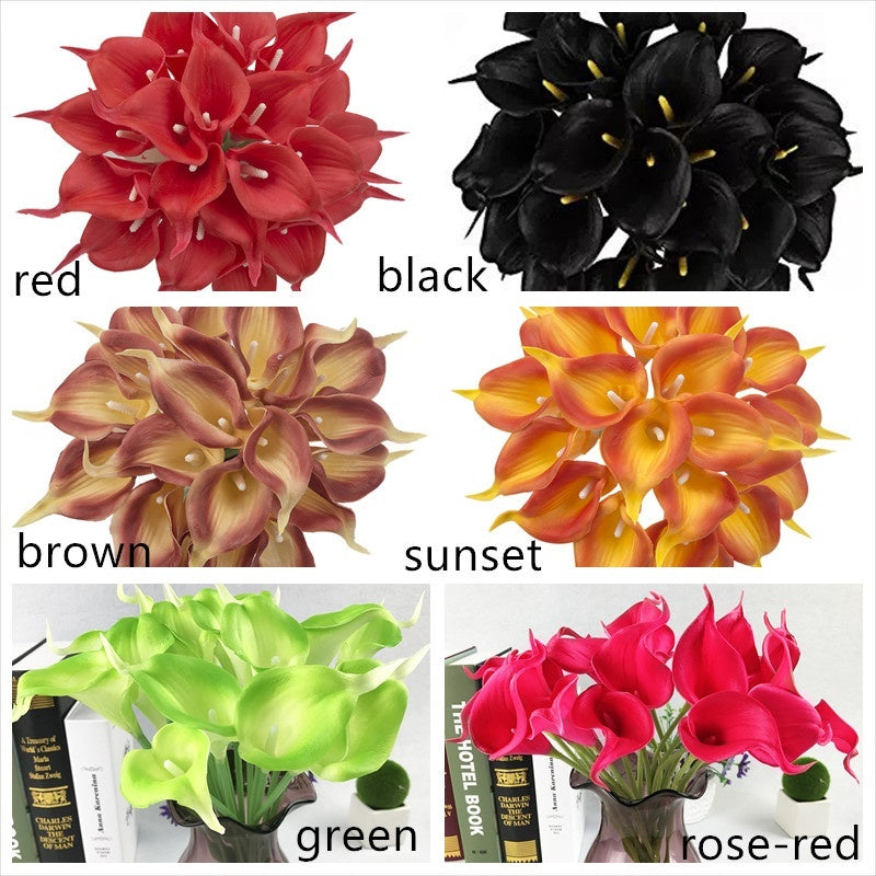 5pcs/lot Artificial Calla Lily Flowers PU Real Touch Wedding Party Home Table Accessories Christmas Decoration.