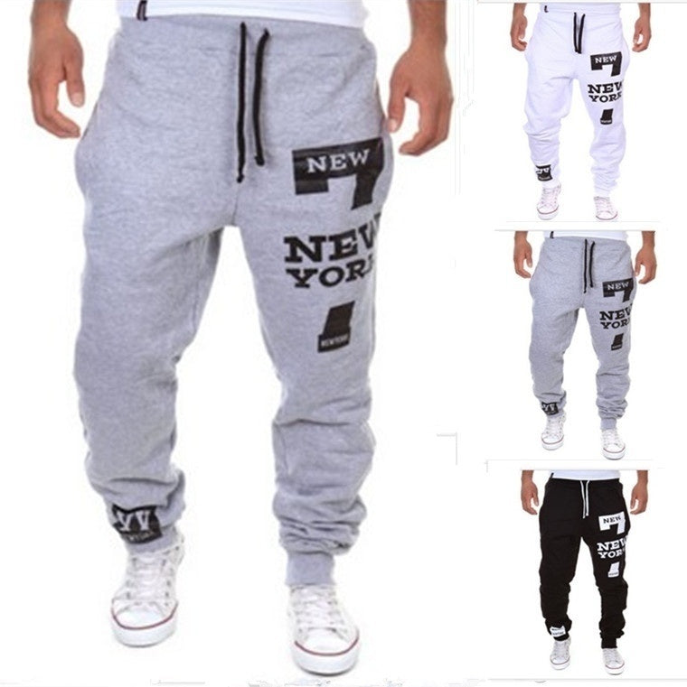 Print Mid Waist Polyester Loose Men's Pants