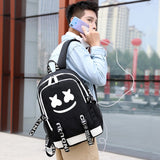 Brand New Kids Marshmello Fans Backpack with USB Charger Boys Canvas Travel Backpack Students School Bag Book Bag Teenagers Campus Bags Shine At Night