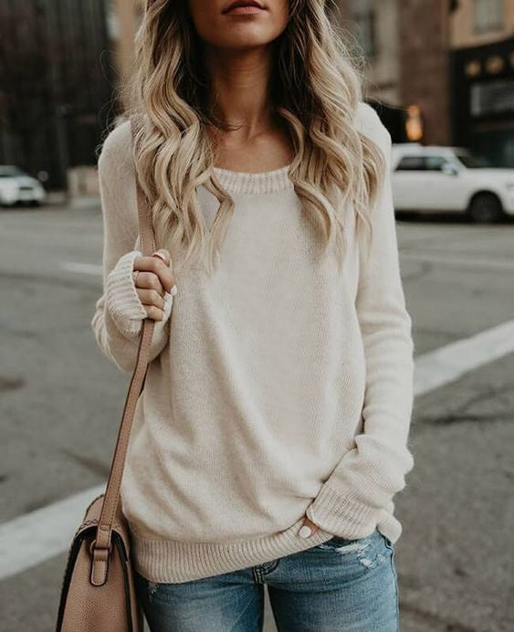 2019 New Women Fashion Long Sleeve Knitted Sweater O-Neck Casual Soft Loose Sweater Hot Sale Pure Color Sweater S-3XL 5 Colors