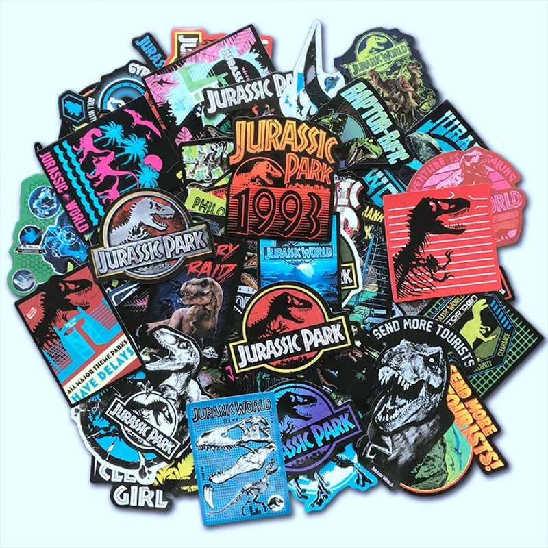 30/75Pcs/Lot Jurassic Park Dinosaur Stickers PVC Kids Toy Graffiti Sticker For Skateboard Luggage Laptop Guitar Car Motorcycle