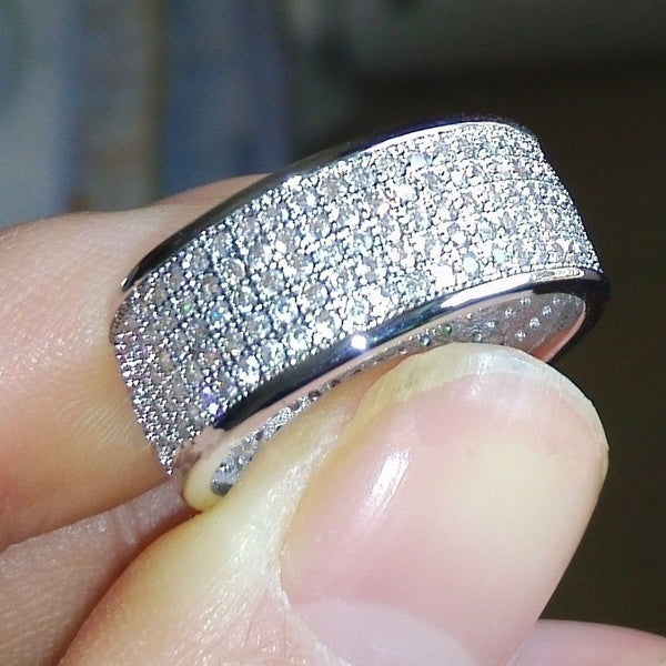 Luxury 10kt White Gold Filled 256pcs White Sapphire Diamond Birthstone Ring Mens Women Wedding Engagement Band Ring Jewelry Gift