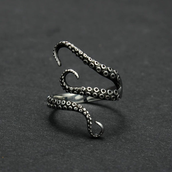 new steel ring opening eight punk Octopus catch ring