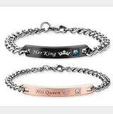 1 Pcs Unique Gift for Lover His QueenHer King  Couple Bracelets Stainless Steel Bracelets for Women Men Jewelry Free Stuff