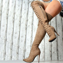 Load image into Gallery viewer, Women Fashion Ultra High Heels Over The Knee Boots Pointed Toe Lace Up Stiletto Thigh High Boots Solid Color Autumn and Winter Suede Bandage Long Boots