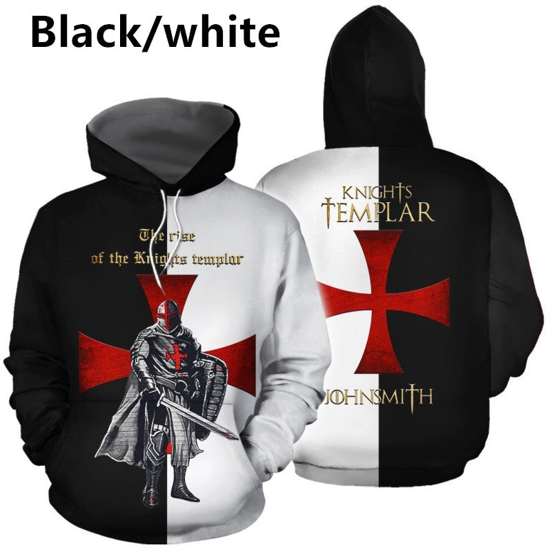 New Men's 3D Print Medieval Knight Pullover Hoodies Templar Knight Armor Helmet Soft and Thin Comfortable Hooded Tops