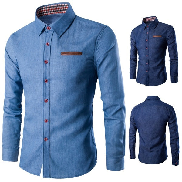 Turn-Down Collar Polyester Plain Long Sleeve Single Breasted Men's Shirts