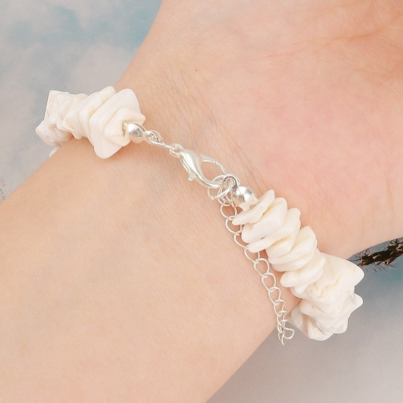 Women White Multicolor Conch Clam Chips Puka Shell Necklace Bracelet Collar Choker With Extended Chain For Girls Women Native Rose Hawaiian Beach Adjustable Necklace Bracelet