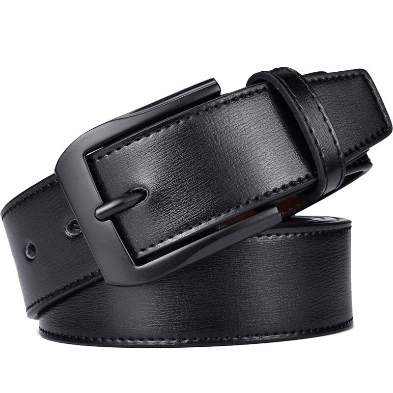 Men Genuine Leather Dress Belt With Single Prong Buckle Fashion Classice Pin Buckle Men Belt